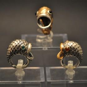 anello pesce argento e bronzo